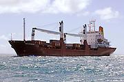 Cargo vessel, Forum Fiji III entering the Waitamata Harbour, Auckland, New Zealand. 29/2/2008