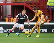 Dundee's Henrik Ojamaa runs at Motherwell's Steven Hammell - Motherwell v Dundee in the Ladbrokes Scottish Premiership at Fir Park, Motherwell.Photo: David Young<br /> <br />  - © David Young - www.davidyoungphoto.co.uk - email: davidyoungphoto@gmail.com