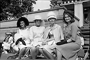 "06/06/1962<br /> 06/06/1962<br /> 06 June 1962<br /> College Races at Trinity College, Dublin. Winners in the competition for ""Miss Elegance"" (l-r): Caroline MacLean (4th); Catherine Nesbit, (3rd); Etain Yardley, (1st) and Rosemary Fisher (4th)"