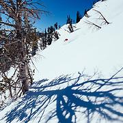 Jess McMillan skis blue bird powder in the Teton Backcountry near Jackson Hole Mountain Resort.