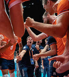 10-08-2019 NED: FIVB Tokyo Volleyball Qualification 2019 / Belgium - Netherlands, Rotterdam<br /> Third match pool B in hall Ahoy between Belgium vs. Netherlands (0-3) for one Olympic ticket / Ass. coach Max Giaccardi of Netherlands