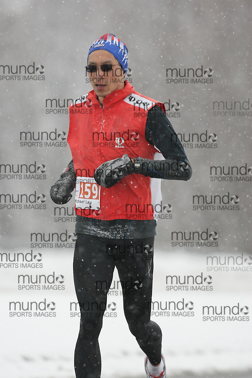 Ottawa, Canada ---22/02/09---Michael Lau competing in the half-marathon  during the first annual Ottawa Winterman marathon, half-marathon, and 10k. Photo copyright Sean Burges/Mundo Sport Images, 2009.