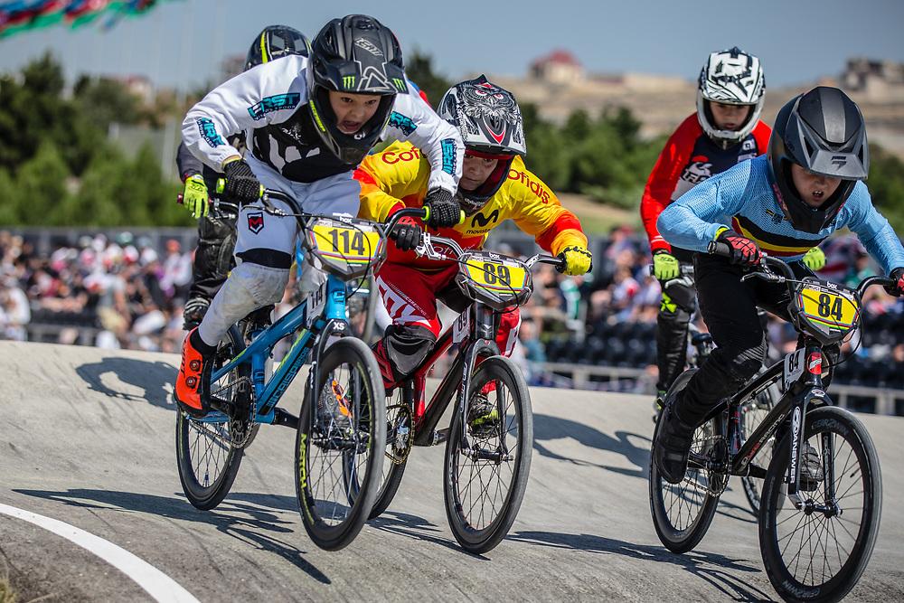 9 Boys #114 (RUSSELL Kobi) NZL and 9 Boys #84 (WYNANTS Thijs) BEL at the 2018 UCI BMX World Championships in Baku, Azerbaijan.