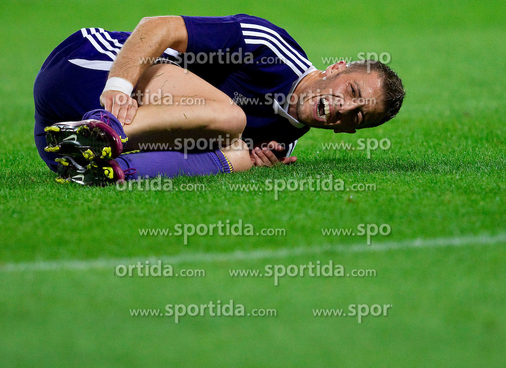 Agim Ibraimi of Maribor injured during football match between NK Maribor and NK Domzale of Slovenian SuperCup 2011, on July 8, 2011, in  Stadium Ljudski vrt, Maribor, Slovenia. Domzale defeated Maribor 2-1 and became SuperCup Champion. (Photo by Vid Ponikvar / Sportida)