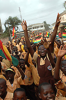 Ghana, Accra, 2007. Students from the Kwame Nkrumah Memorial School get a chance to express themselves on March 6th, Ghana's Independence Day.