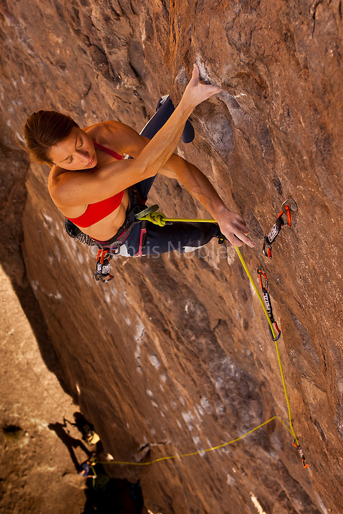 """Rock climber Lisa Rands leads the route """"Black Hole"""" rated 12b, in the Owens River Gorge,"""