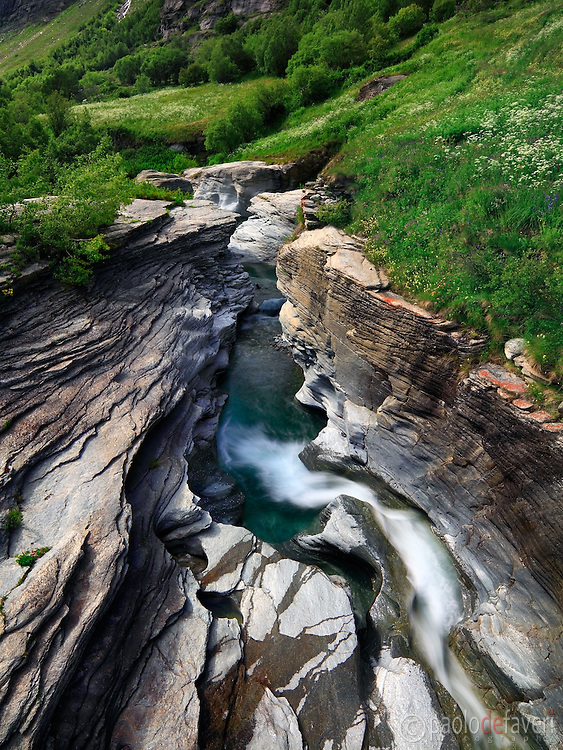 The gorges of the Arc River in Haute Maurienne, France. Taken at mid-afternoon with some nice diffused light, this is stitched from three horizontal frames.