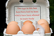 Organic free-range eggs stating 'The eggs in this box have been laid by hens which have been allowed to roam freely', England