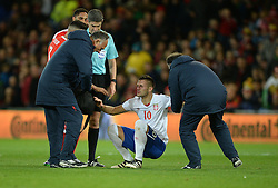 Dusan Tadic of Serbia is lifted up as blood pours from his nose. - Mandatory by-line: Alex James/JMP - 12/11/2016 - FOOTBALL - Cardiff City Stadium - Cardiff, United Kingdom - Wales v Serbia - FIFA European World Cup Qualifiers