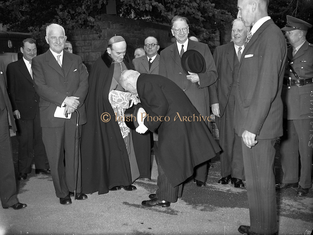 19/05/1959<br /> 05/19/1959<br /> 19 May 1959<br /> Opening of Foras Taluntais premises at 33 Merrion Road, Dublin. Picture shows President Sean T. O'Kelly , who opened the premises, being greeted by His Grace the Archbishop of Dublin, Most Rev. Dr McQuaid, who blessed the premises. Included are Mr James Dillon, T.D., former Minister for Agriculture and An Taoiseach Eamon de Valera.