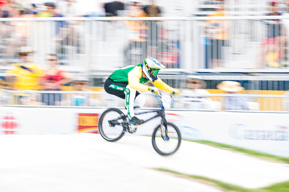 Renato Rezende of Brazil races in the last heat of  the motos at the BMX competition for the 2015 Pan American Games in Toronto, Canada July 11,  2015.  AFP PHOTO/GEOFF ROBINS