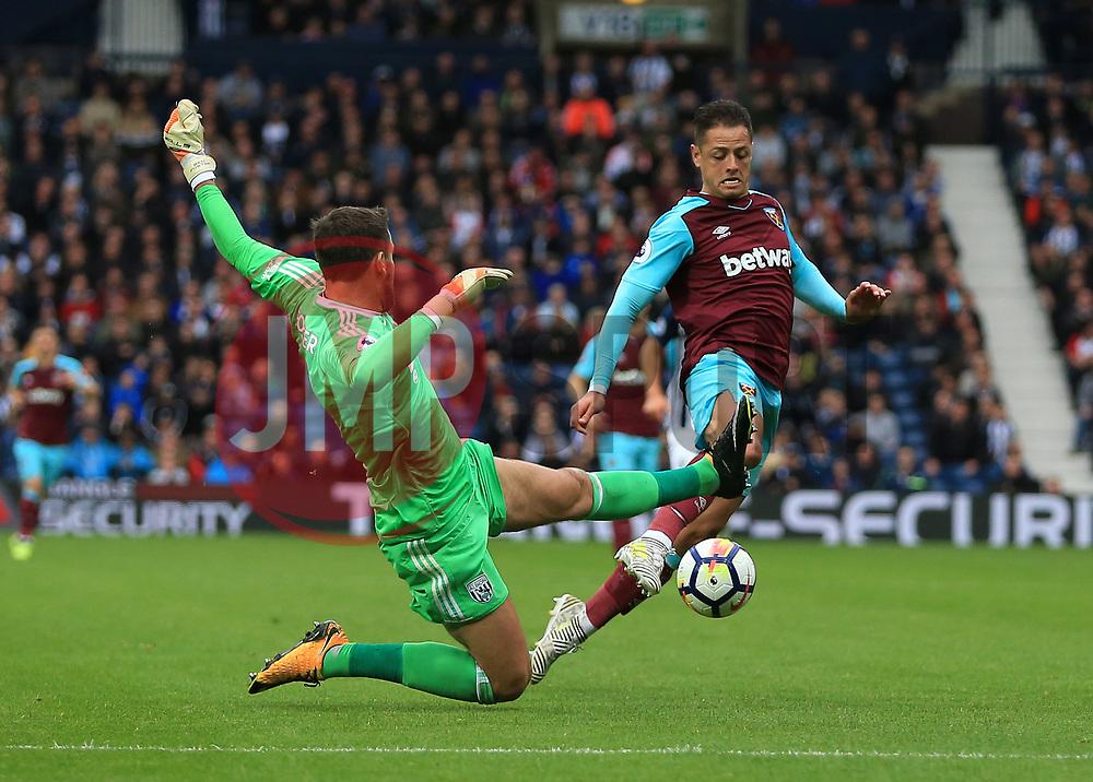 Ben Foster of West Bromwich Albion fouls Javier Hernandez of West Ham United United - Mandatory by-line: Paul Roberts/JMP - 16/09/2017 - FOOTBALL - The Hawthorns - West Bromwich, England - West Bromwich Albion v West Ham United - Premier League