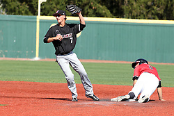 17 April 2016:  Joe Kelch gets put out at 2nd base by Connor Kopach during an NCAA Division I Baseball game between the Southern Illinois Salukis and the Illinois State Redbirds in Duffy Bass Field, Normal IL