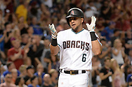 Aug 11, 2017; Phoenix, AZ, USA; Arizona Diamondbacks outfielder David Peralta (6) celebrates after hitting a two run home run in the fifth inning of the game against the Chicago Cubs at Chase Field. Mandatory Credit: Jennifer Stewart-USA TODAY Sports