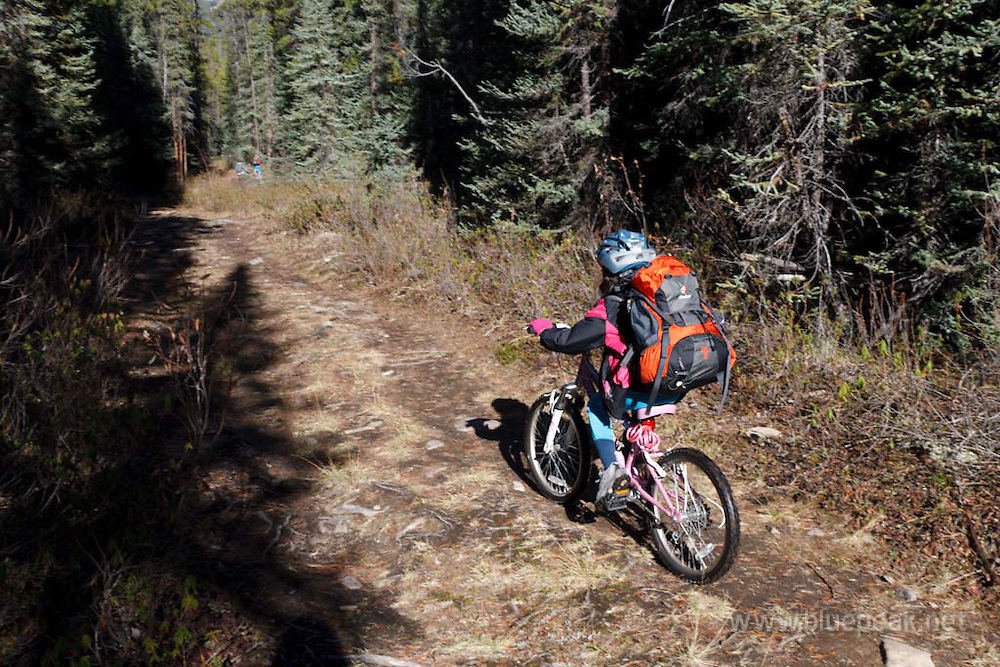 Young girl mountain biking in Jasper
