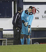John Gibson prepares to replace Kyle Letheren in the Dundee goal - Raith Rovers v Dundee,  SPFL Championship at Dens Park<br /> <br />  - &copy; David Young - www.davidyoungphoto.co.uk - email: davidyoungphoto@gmail.com