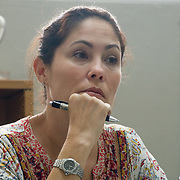 NOVEMBER , 2017&ndash;SAN JUAN, PUERTO RICO&mdash;<br /> Omaya Sosa Pascual from the Centro de Periodismo Investigativo before receiving satellite phones from NAHJ members  donated in an effort to help local journalists  better cover their communities. <br /> (Photo by Angel Valentin)
