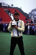 NICK FALDO WITH <br />OPEN 1987 TROPHY AT MUIRFIELD GC,<br />SCOTLAND. JULY 1987