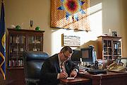 Montana Senator Jon Tester (D) in his office on Capitol Hill.
