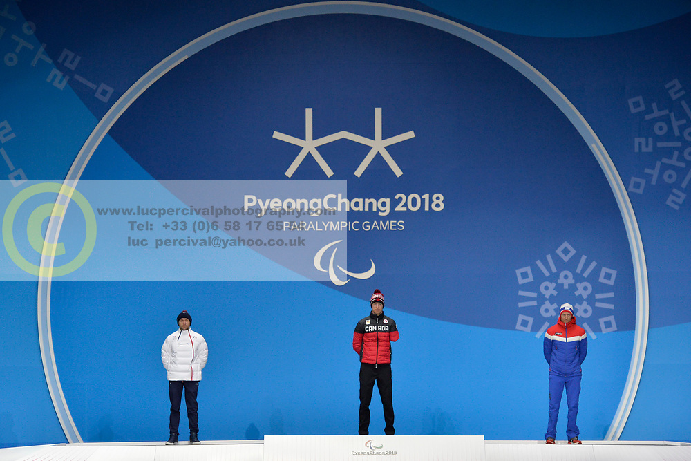 ARENDZ Mark CAN LW6, DAVIET Benjamin FRA LW2, ULSET Nils-Erik NOR LW3,  ParaBiathlon, Biathlon, Podium at  the PyeongChang2018 Winter Paralympic Games, South Korea.