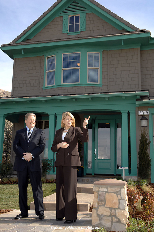 Martha Stewart, founder of Martha Stewart Living Omnimedia, right, describes her design elements during the opening ceremony of the first west coast co-branded community with Jeff Mezger, president and chief executive officer of KB Home, in Perris, Calif. The partnership, since 2005, offers attractive well designed and affordable homes in Riverside County, the 4th largest housing market in the United States. Photo/KB Home, Susan Goldman.