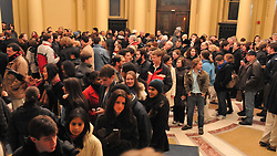Folks arriving inside the Woolsey Hall Rotunda at Yale just before: Century on a Spree: The Whiffenpoof Centennial (1909-2009) Concert
