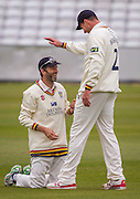 Graham Onions (Durham County Cricket Club) is congratualted after catching Craig Overton (Somerset County Cricket Club) during the LV County Championship Div 1 match between Durham County Cricket Club and Somerset County Cricket Club at the Emirates Durham ICG Ground, Chester-le-Street, United Kingdom on 8 June 2015. Photo by George Ledger.