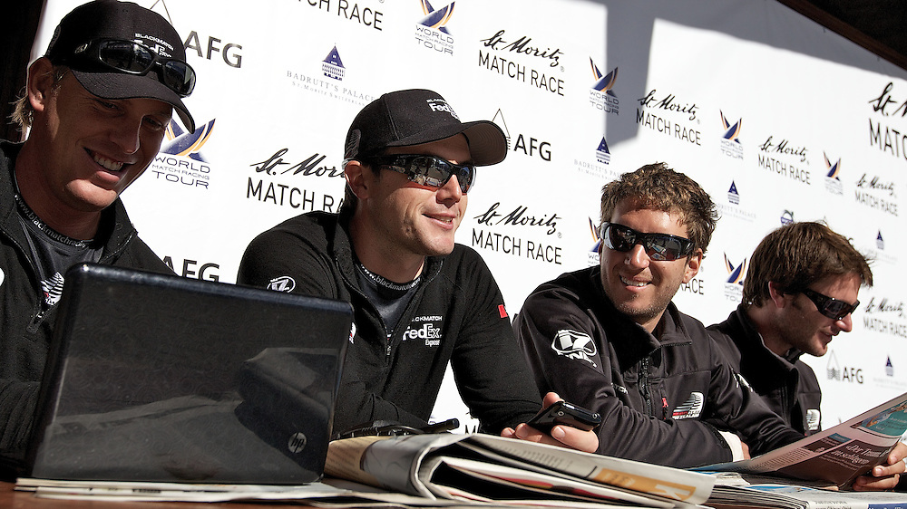 Dave Swete, Tom Powrie, Nick Blackman and Adam Minoprio, ETNZ/BlackMatch Racing. St Moritz Match Race 2010. World Match Racing Tour. St Moritz, Switzerland. 5th September 2010. Photo: Ian Roman/WMRT.