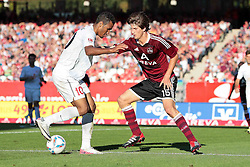 01.10.2011, easy Credit Stadion, Nuernberg, GER, 1.FBL, 1. FC Nürnberg / Nuernberg vs 1. FSV Mainz, im Bild:.Eric Maxim Choupo-Moting (Mainz #10) gg Timm Klose (Nuernberg #15).// during the Match GER, 1.FBL, 1. FC Nürnberg / Nuernberg vs 1. FSV Mainz on 2011/10/01, easy Credit Stadion, Nuernberg, Germany..EXPA Pictures © 2011, PhotoCredit: EXPA/ nph/  Will       ****** out of GER / CRO  / BEL ******