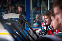 KELOWNA, CANADA - OCTOBER 4:  Riley Stadel #3 of the Kelowna Rockets sits on the bench opposite the Portland Winterhawks  at the Kelowna Rockets on October 4, 2013 at Prospera Place in Kelowna, British Columbia, Canada (Photo by Marissa Baecker/Shoot the Breeze) *** Local Caption ***