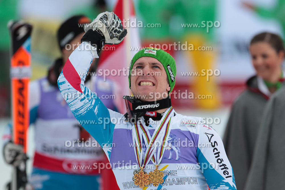 17.02.2013, Planai, Schladming, AUT, FIS Weltmeisterschaften Ski Alpin, Slalom, Herren, 2. Durchgang, im Bild Marcel Hirscher (AUT, 1. Platz) // 1st place Marcel Hirscher of Austria reacts after 2nd run of the mensSlalom at the FIS Ski World Championships 2013 at the Planai Course, Schladming, Austria on 2013/02/17. EXPA Pictures © 2013, PhotoCredit: EXPA/ Johann Groder