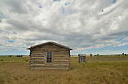 Prairie Union School, A one-room schoolhouse used from 1943-57 and reconstructed to its original appearance at American Prairie Reserve in the Great Plains of Montana. South of Malta in Phillips County, Montana.