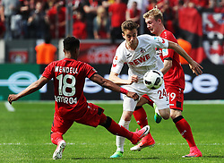 LEVERKUSEN, May 14, 2017  Lukas Kluenter (C) of FC Cologne fights for the ball during the Bundesliga match between Bayer 04 Leverkusen and FC Cologne in Leverkusen, Germany, May 13, 2017. The match ended 2-2. (Credit Image: © Ulrich Hufnagel/Xinhua via ZUMA Wire)