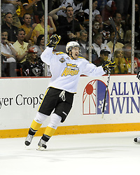 Mark Stone of the Brandon Wheat Kings celebrates a goal in the semi-final game of the 2010 MasterCard Memorial Cup in Brandon, MB on Friday May 21. Photo by Aaron Bell/CHL Images