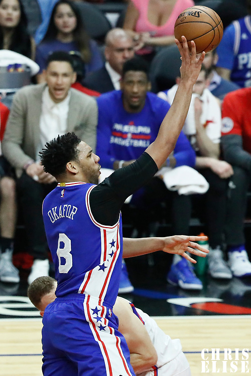 11 March 2017: Philadelphia 76ers center Jahlil Okafor (8) goes for the jump shot past LA Clippers forward Blake Griffin (32) during the LA Clippers 112-100 victory over the Philadelphia Sixers, at the Staples Center, Los Angeles, California, USA.