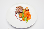 Fillet Steak medallion with vegetables on a plate