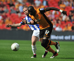 HULLS MO DIAME PUSHES OF WEDNESDAY BAYY BANNAN, Hull City v Sheffield Wednesday Sky Bet Championship Play-Off Final, Wembley Stadium Saturday  28th May 2016.Photo:Mike Capps