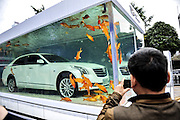 Mar 25, 2016 - Guangzhou, Guangdong, China - A white car live with some beautiful goldfishs in peace in a big fish tank on the street attracted people's eyes in Guangzhou,Guangdong,China on 25th March 2016. (Credit Image: © Exclusivepix Media)