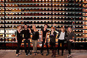 Portrait de l'équipe d'Alliance Numérique devant l'oeuvre PIXINESS de l'artiste visuel Axel Morgenthaler à  La SAT / Montreal / Canada / 2011-09-19, © Photo Marc Gibert / adecom.ca