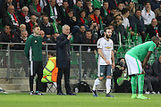 Jose Mourinho Manager of Manchester United Manager disagrees with Eric Bailly Defender of Manchester United sending off during the Europa League match between Saint-Etienne and Manchester United at Stade Geoffroy Guichard, Saint-Etienne, France on 22 February 2017. Photo by Phil Duncan.