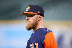 April 13, 2018 - Houston, TX, U.S. - HOUSTON, TX - APRIL 13: Houston Astros left fielder Derek Fisher (21) on the field prior to a MLB game between the Houston Astros and the Texas Rangers on April 13, 2018 at Minute Maid Park in Houston, TX. (Photo by Juan DeLeon/Icon Sportswire) (Credit Image: © Juan Deleon/Icon SMI via ZUMA Press)