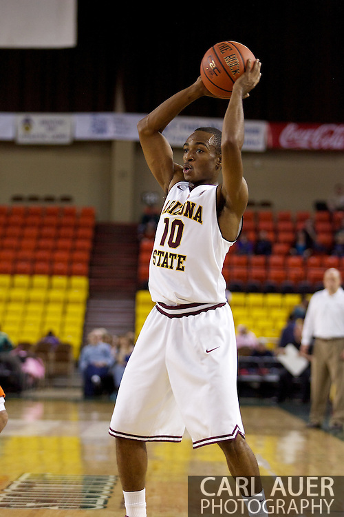 November 25th, 2010:  Anchorage, Alaska - Arizona State guard Jamelle McMillan (10) looks to pass in the Sun Devils 73-55 win over Houston Baptist in their first round game at the Great Alaska Shootout.