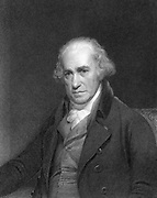 James Watt, Scottish engineer and inventor.    Watt (1736-1819) made great improvements to the steam engine, one of the most significant being the separate condenser.  In 1774 he went into partnership with Matthew Boulton (1728-1809) the Birmingham manufacturer and entrepreneur. From 'The Gallery of Portraits', London, 1833. Engraving.