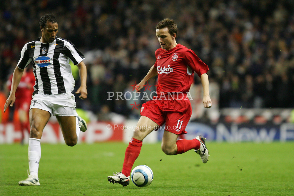 LIVERPOOL, ENGLAND - TUESDAY APRIL 5th 2005:  Liverpool's Vladimir Smicer in action against Juventus during the UEFA Champions League Quarter Final 1st Leg match at Anfield. (Pic by David Rawcliffe/Propaganda)