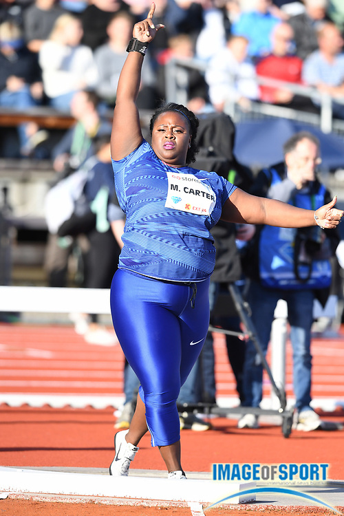 Michelle Carter (USA) places eighth in the women's shot put at 59-11¾ (18.28m) during the 54th  Bislett Games in an IAAF Diamond League meet in Oslo, Norway, Thursday, June 13, 2019. (Jiro Mochizuki/Image of Sport)