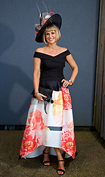 LIVERPOOL, ENGLAND - Thursday, April 6, 2017: Tracey Allen, 43 from Whitehaven, wearing a dress from Coast, during The Opening Day on Day One of the Aintree Grand National Festival 2017 at Aintree Racecourse. (Pic by David Rawcliffe/Propaganda)