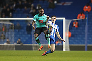 Derby County striker Darren Bent (11) and Brighton & Hove Albion central defender Lewis Dunk (5) during the EFL Sky Bet Championship match between Brighton and Hove Albion and Derby County at the American Express Community Stadium, Brighton and Hove, England on 10 March 2017.