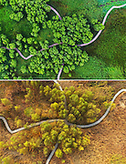 ZAOZHUANG, Nov. 17, 2016 <br /> <br /> stunning combination photos from above during Winter and Summer<br /> <br /> This combination photo taken on June 27, 2016 (top) and Nov. 17, 2016 shows the summer and winter scenery at the Tai'erzhuang Canal Wetland Park in Zaozhuang City, east China's Shandong Province.    <br /> ©ZUMA/Exclusivepix Media