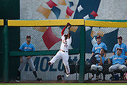 Starlin Rodriguez (27) of the Springfield Cardinals makes a leaping catch during a game against the Northwest Arkansas Naturals at Hammons Field on August 23, 2013 in Springfield, Missouri. (David Welker)