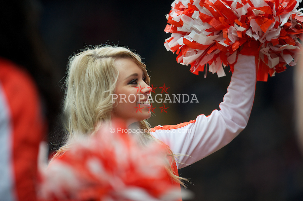 NOTTINGHAM, ENGLAND - Sunday, January 30, 2011: A Notts County cheeleader from local bar Hooters during the FA Cup 4th Round match against Manchester City at Meadow Lane. (Photo by David Rawcliffe/Propaganda)